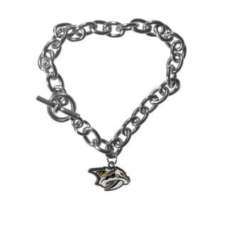 NHL Sports Team Logo Nashville Predators High Polish Enamel Charm Chain Bracelet