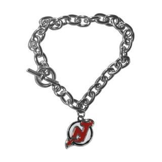 NHL Sports Team Logo New Jersey Devils Charm Chain Bracelet