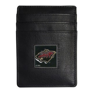 NHL Minnesota Wild Sports Team Logo Leather Money Clip Cardholder