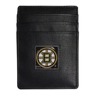 NHL Boston Bruins Sports Team Logo Leather Money Clip Cardholder