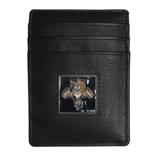 NHL Florida Panthers Black Leather Sports Team Logo Money Clip Cardholder