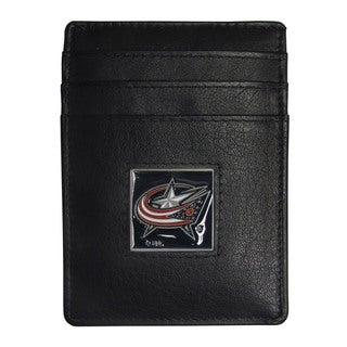 NHL Columbus Blue Jackets Sports Team Logo Leather Money Clip Card Holder Packaged in Gift Box