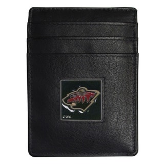 NHL Minnesota Wild Sports Team Logo Black Leather Money Clip Card Holder in Gift Box