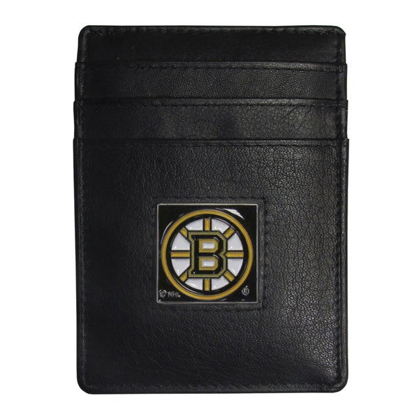NHL Boston Bruins Sports Team Logo Leather Money Clip Card Holder and Gift Box