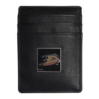 NHL Anaheim Ducks Sports Team Logo Leather Money Clip Card Holder Packaged in Gift Box