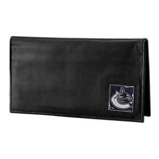 NHL Vancouver Canucks Sports Team Logo Deluxe Leather Checkbook Cover