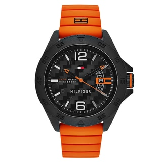 Tommy Hilfiger Men's Orange Rubber/Stainless Steel Fashion Watch