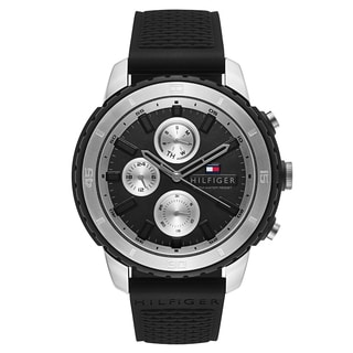 Tommy Hilfiger Men's Black Rubber/ Stainless Steel Fashion Watch