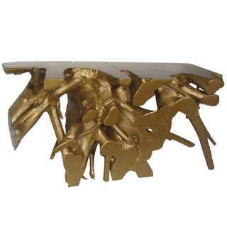 Gilded Teak 59-inch x 16-inch x 31.5-inch Root Console Table