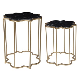 Halycon Gold-tone Iron/Marble Side Table (Set of 2)
