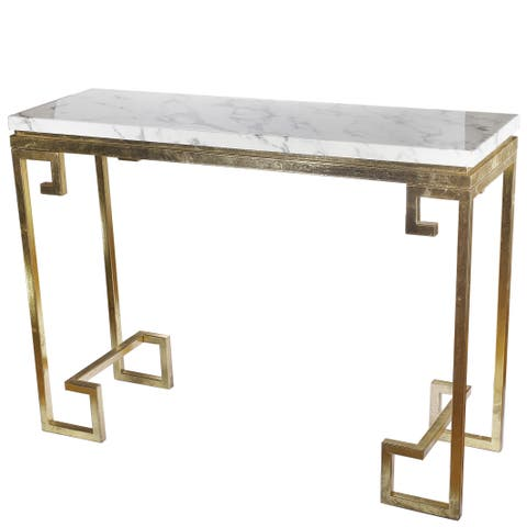 Phoenecian Nights Goldtone Iron and White Marble Console Table