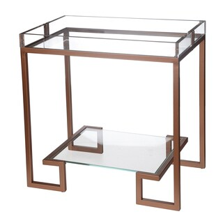 Rose Gold Metal and Glass 24-inch x 16-inch x 24-inch Side Table
