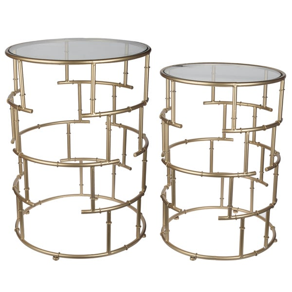 Halycon Gold Colored Iron/Glass Side Tables (Set Of 2)