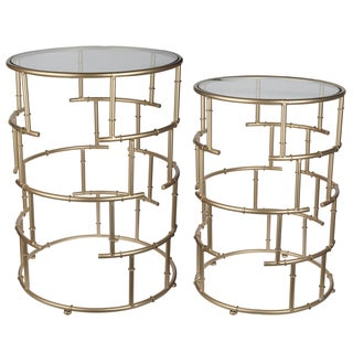 Halycon Gold-colored Iron/Glass Side Tables (Set of 2)