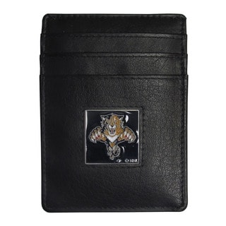 NHL Men's Florida Panthers Sports Team Logo Black Leather Money Clip Card Holder Packaged in Gift Box