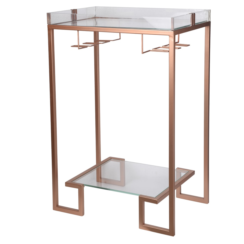 """A and B Home Pink Metal/Acrylic/Glass 24-inch x 16-inch x 36-inch Accent Table (24X16X36"""" METAL ACCENT TABLE)"""