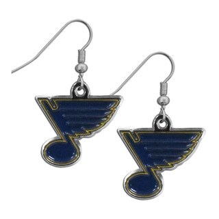 NHL St. Louis Blues Sports Team Logo Chrome Dangle Earrings Set