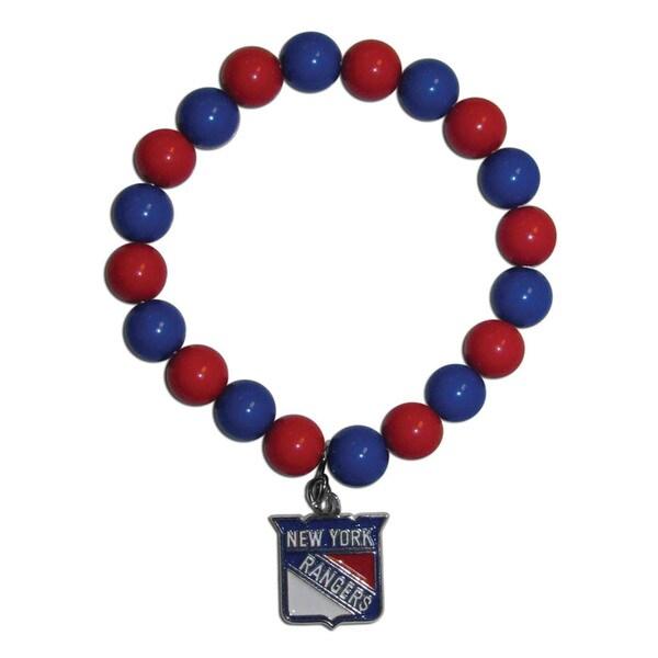 NHL New York Rangers Sports Team Logo Fan Blue and Red Bead Bracelet