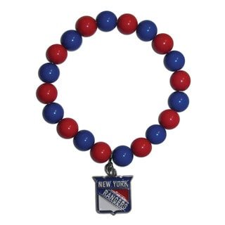 NHL New York Rangers Sports Team Logo Fan Blue and Red Bead Bracelet