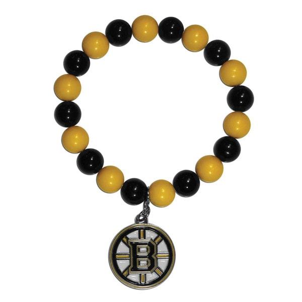 NHL Boston Bruins Sports Team Logo Multicolored Bead Bracelet with Enameled Chrome Charm