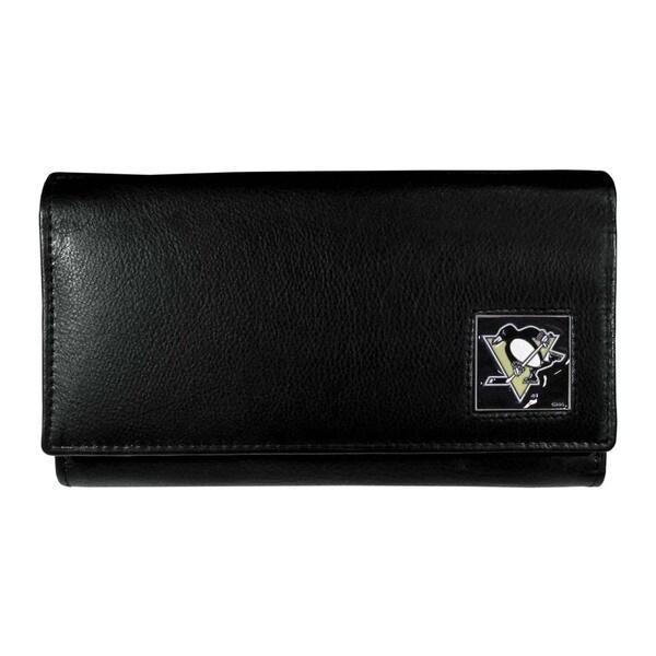 NHL Pittsburgh Penguins Women's Black Leather Sports Team Logo Wallet
