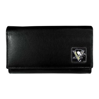 NHL Pittsburgh Penguins Women's Black Leather Sports Team Logo Wallet