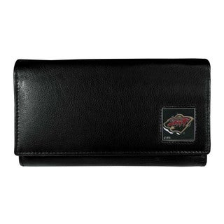 NHL Women's Minnesota Wild Sports Team Logo Black Leather Wallet