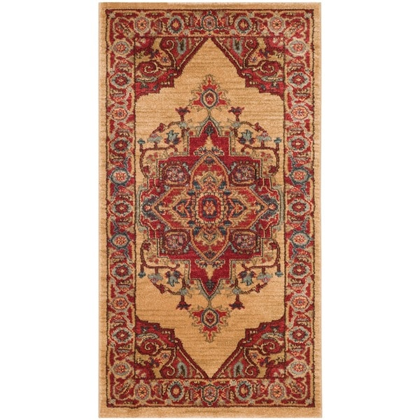 Safavieh Mahal Traditional Grandeur Red/ Natural Runner Rug (2' 2 x 4')