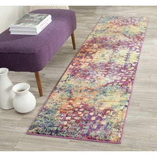 Safavieh Monaco Abstract Watercolor Pink/ Multi Distressed Runner (2' x 16')