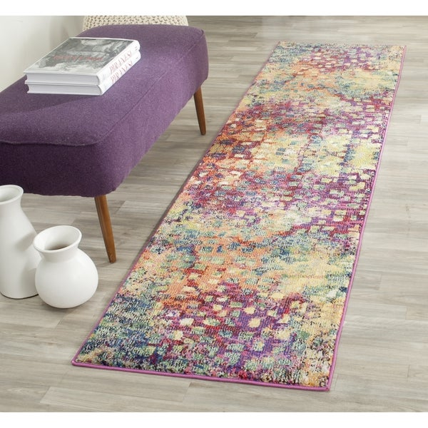 Safavieh Monaco Abstract Watercolor Pink/ Multi Distressed Runner - 2' x 16'
