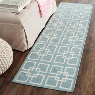 Safavieh Martha Stewart Collection Geyser Blue Wool / Silk Runner Rug (2' x 7')