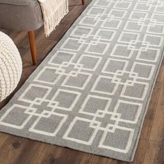 Martha Stewart by Safavieh Square Dance Cement Grey Wool / Silk Runner Rug (2' x 9')