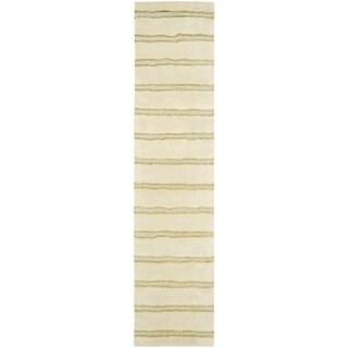 Martha Stewart by Safavieh Chalk Stripe Wheat Beige Wool/ Viscose Rug (2' x 10')