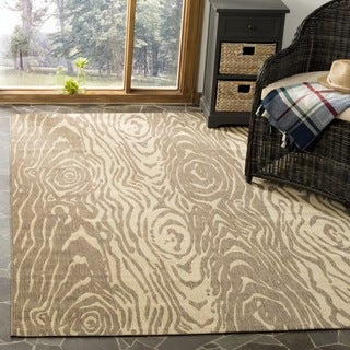 Martha Stewart by Safavieh Layered Faux Bois Abstract Coffee/ Sand Runner Rug (2' 7 x 5')