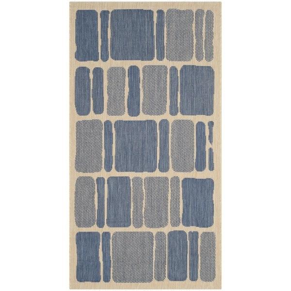 Martha Stewart by Safavieh Cream/ Blue Runner Rug (2' 7 x 5')