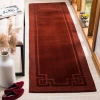 Martha Stewart by Safavieh Deco Frame Vermillion Wool Runner Rug - 2' x 8'