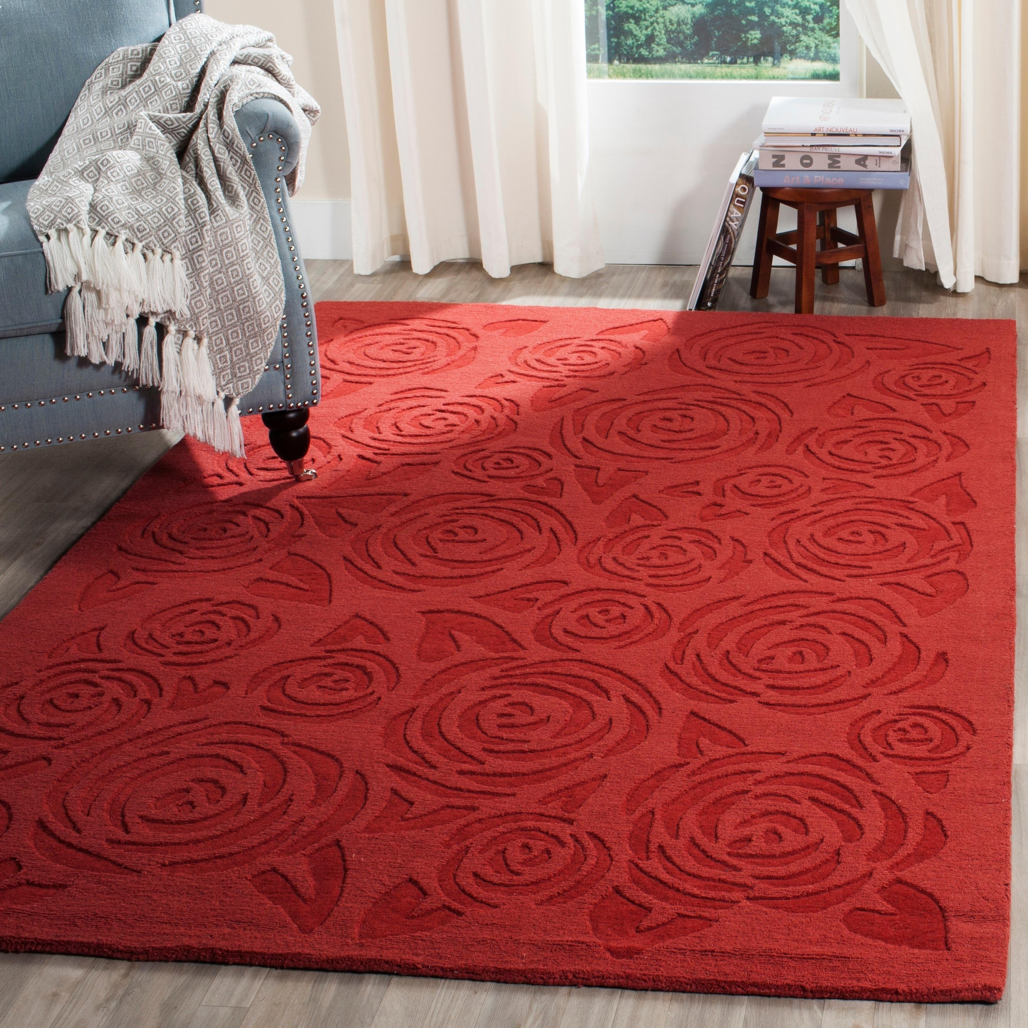 Safavieh Block Print Rose Wool Rug