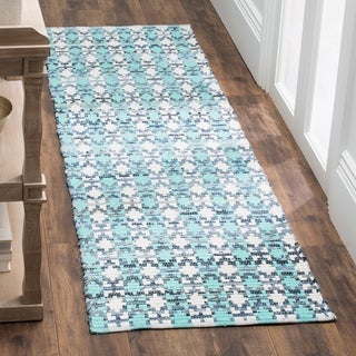 Safavieh Hand-Woven Montauk Flatweave Turquoise / Multicolored Cotton Runner Rug (2' x 8')