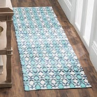 Safavieh Hand-Woven Montauk Flatweave Turquoise / Multicolored Cotton Runner Rug - 2' x 8'