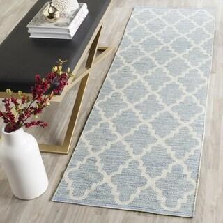 Safavieh Hand-Woven Montauk Flatweave Light Blue / Ivory Cotton Runner Rug (2' x 11')