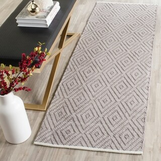 Safavieh Hand-Woven Montauk Flatweave Grey / Ivory Cotton Runner Rug (2' x 13')