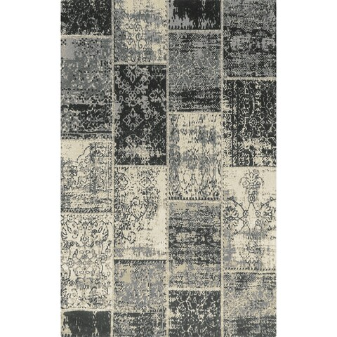 Superior Brighton Patchwork Collection Loom Woven Jacquard Cotton Rug (5'x8') - 5' x 8'