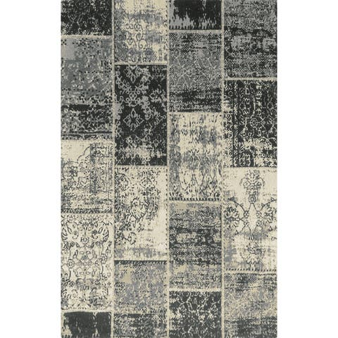 Miranda Haus Brighton Patchwork Collection Loom Woven Jacquard Cotton Rug (5'x8')