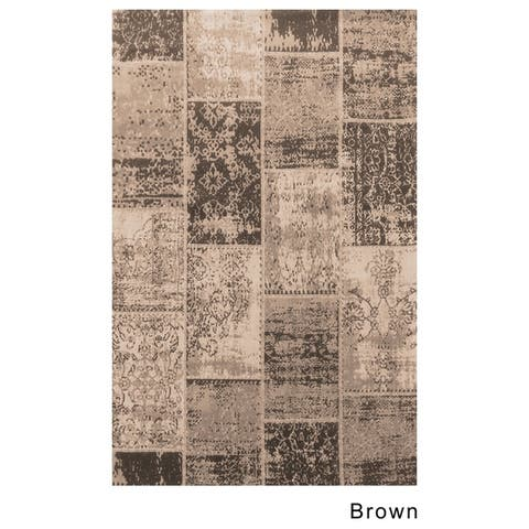 Superior Brighton Patchwork Collection Loom Woven Jacquard Cotton Rug (5'x8')
