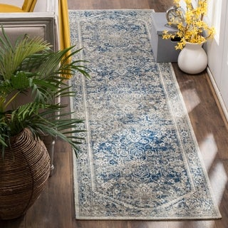 Safavieh Patina Vintage Grey / Blue Cotton Runner Rug (2' 2 x 12')