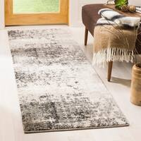 Safavieh Retro Modern Abstract Light Grey / Grey Distressed Runner Rug (2' x 11')