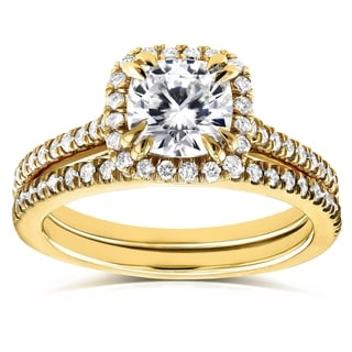 Annello 14k Yellow Gold Cushion Moissanite and 1/2ct TDW Diamond Halo Cathedral Bridal Set (G-H, I1-I2)