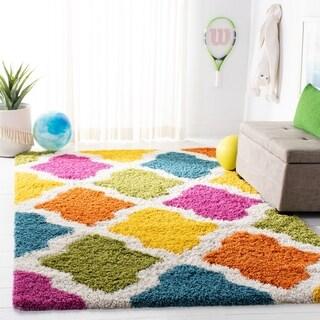 Safavieh Kids Shag Ivory/ Multi Rainbow Geometric Rug - 2' x 5'