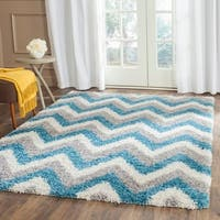 Safavieh Kids Shag Ivory/ Blue Chevron Runner (2' x 5')