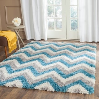 "Safavieh Kids Shag Ivory/ Blue Chevron Runner - 2'-3"" x 5'"
